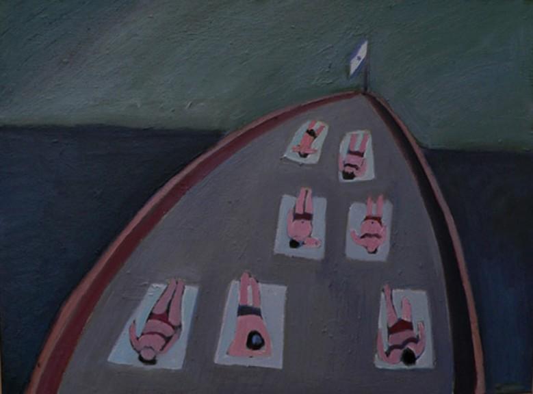 На палубе.
